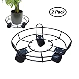 2 PCS Metal Plant Caddy on Wheels Flower Pot Holder Trolley Moving Tray Indoor Outdoor Garden Stand