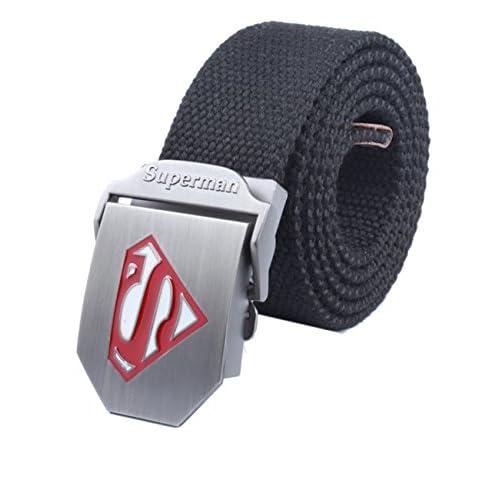 """Menschwear Cintura De La Lona De Hebilla De Correa Pretina Tejida Para Hombre Cinturones De Hebilla Automática Metal Ajustables 52"""""""