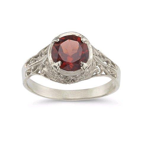 Victorian Floral Garnet Ring in .925 Sterling ()