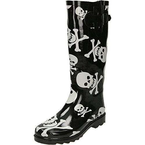 jwf Skull Cross Bones Print Black Wellington Boots Black pc8B9g0H
