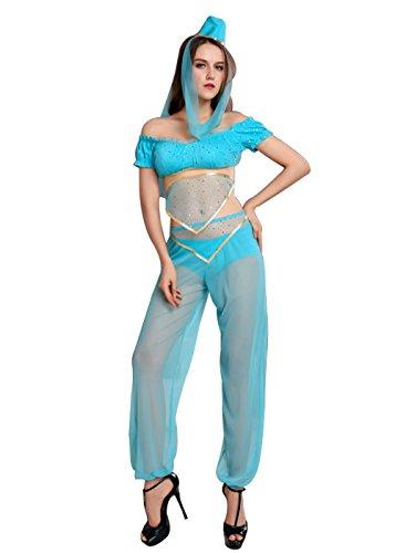 Arabian Costume Women S-2XL Sexy Adult Genie Belly Dancer Arabian Nights Dress Costume (XL)]()
