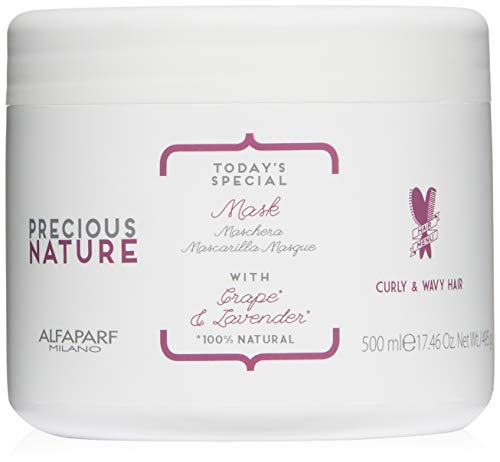 Alfaparf Milano Precious Nature Curly & Wavy Hair Mask - Enriched with Lavender and Grape Serum - Color Safe - Detangles, Softens, Shine, Tames Frizz - Professional Salon Quality - 17.28 fl. oz.