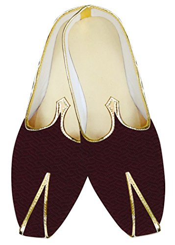 INMONARCH Hombres Vino Boda India Mocasines de Boda Zapatos MJ015625