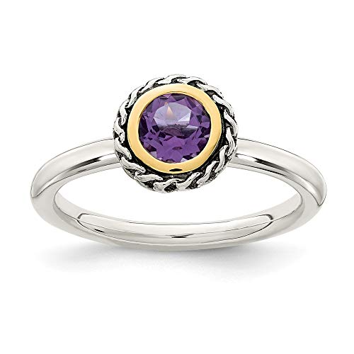 Sterling Silver With 14k Polished Amethyst Ring - Size 7