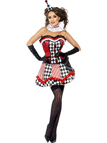 Costumes Child Clown Cutie (Smiffy's Women's Fever Deluxe Clown Cutie Costume, Corset, Skirt, Attached Underskirt, Collar and Mini Hat, Fantasy, Fever, Size 6-8,)