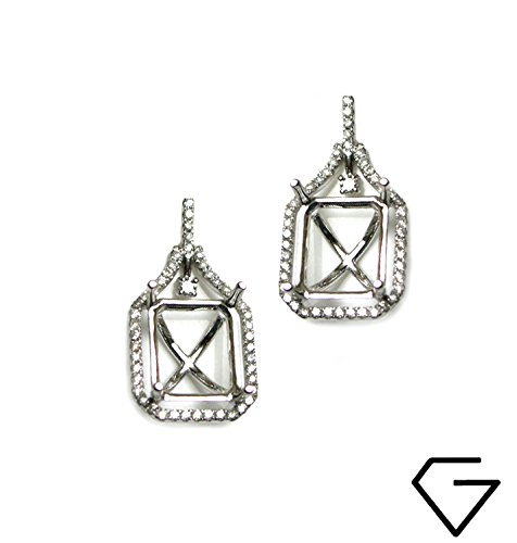 - 12x10mm Emerald Cut Earring Semi Mount in 14k White Gold with White Diamond (9051)