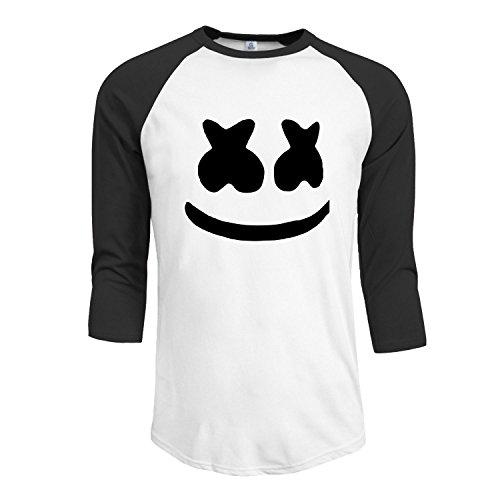 Men's Marshmello Face 3/4 Sleeve Raglan baseball Tee XXL Black