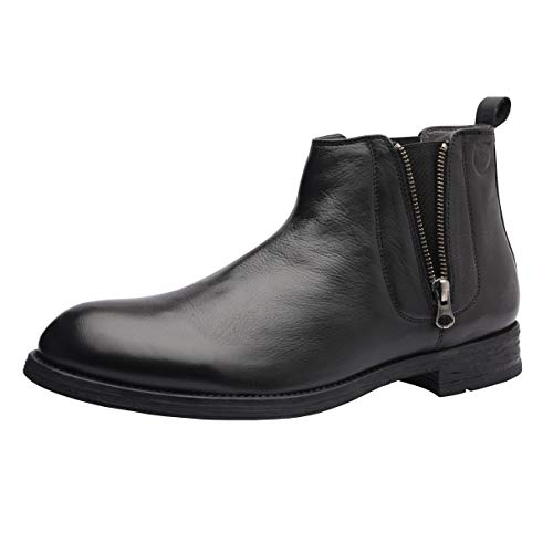 - Allonsi Aloin Men's Boots, Chelsea Boots, Ankle Dress Boot for Men, Ankle Round Toe Zip Chelsea Boots Men, Formal Genuine Leather Boots for Men (Black, 12M US)