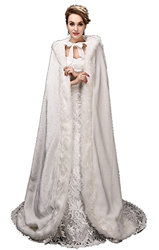 SK Studio Women's Faux Fur Winter Long Wedding Cloak Coat Jacket Bridal Wraps Cape