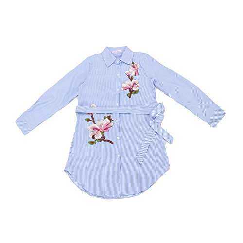 - COOL-JULY Elegant Office Striped Shirt Dress Floral Appliques Embroidery Casual Dresses Vintage Summer Vestidos,Blue,M