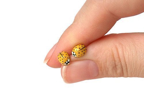 Yellow Ring Ladybug - Tiny Yellow Polymer Clay Ladybug Stud Earrings on Sterling Silver Posts