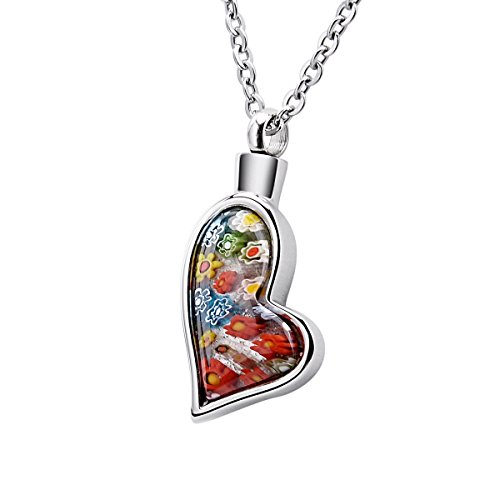 BY Colorful Murano Irregular Heart&Butterfly Cremation Ashes Urn Necklace Glass Flower Memorial Pendant Stainless Steel Waterproof Jewelry (Irregular Heart)