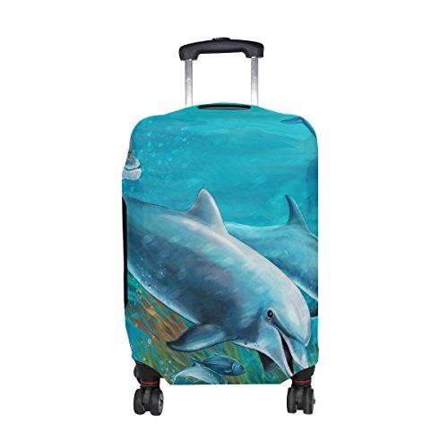 COOSUN Le sous-marin Dolphins Imprimer protection bagages Voyage housses lavables Spandex Bagages Valise couverture - Convient 23-32 pouces M 23-26 in Multicolore
