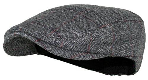 Men's Herringbone Wool Tweed Newsboy Ivy Cabbie Socks (Plaid Grey)