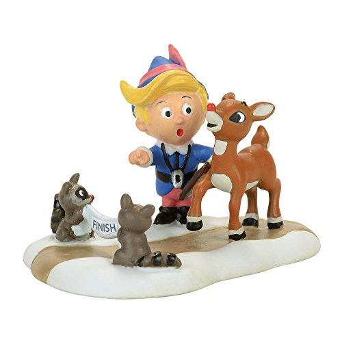 Department 56 North Pole Training for Christmas Eve Hermey and Rudolph The Red-Nosed Reindeer Figurine Village Accessory, Multicolor ()