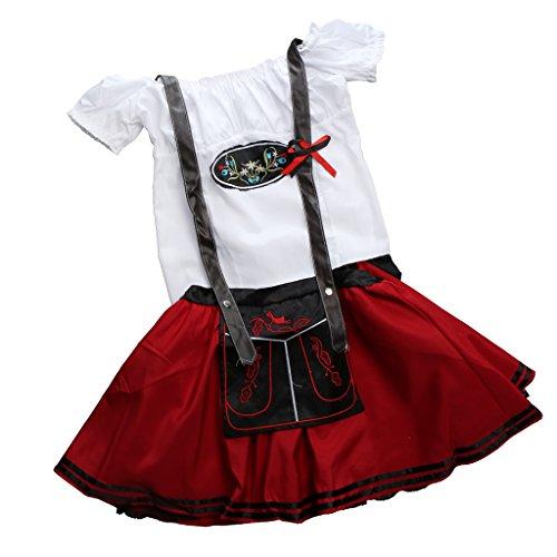 German Braces Costume (MonkeyJack Women Ladies Holiday Bavarian Oktoberfest Costume German Beer Bar Club Wench Maid Fancy Dress Braces Skirt - Red, M)