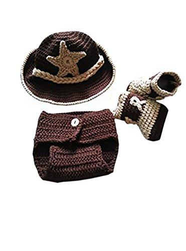 Pinbo® Newborn baby Crochet Photo Prop Cowboy Set Hat Boots Diaper Cover Costume