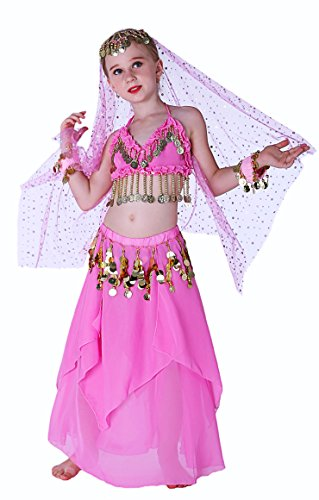 [Seawhisper Pink Genie Costume for Girls Halloween Costumes 10 12] (Bollywood Dress Up Costumes)