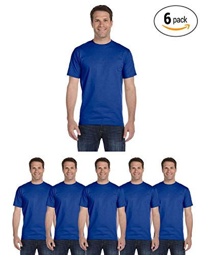 6 Value T-shirt - Hanes Men's Comfortsoft 6 Pack Crew Neck Tee - Deep Royal - S