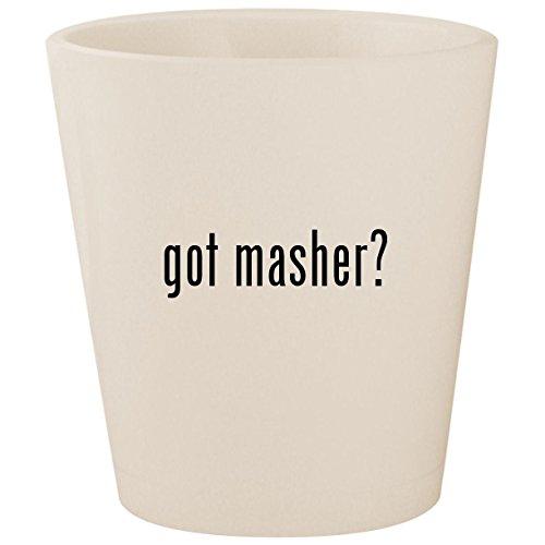 Mashy Egg Masher (got masher? - White Ceramic 1.5oz Shot Glass)