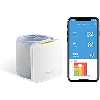 iHealth Sense Fully Automatic Wrist Smart Blood Pressure Cuff Monitor for iOS and Android, 5.3
