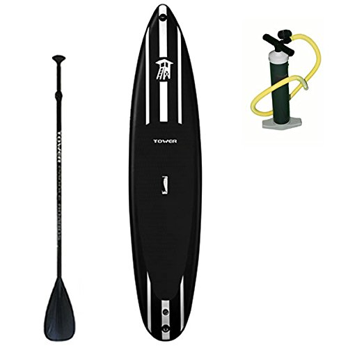 """Tower iRace Inflatable 12'6"""" Stand Up Paddle Board - (6 Inches Thick) - Universal SUP Wide Stance - Premium SUP Bundle (Pump & Adjustable Paddle Included) - Non-Slip Deck - Red"""