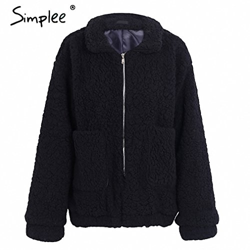 Faux lambswool oversized jacket coat Winter black warm hairly jacket Women autumn outerwear NEW new female overcoat Black S