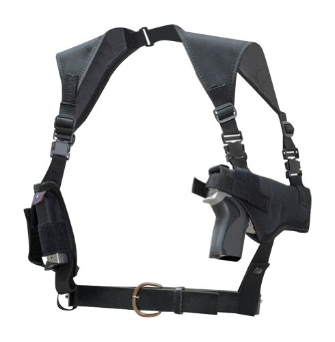 - Ambidextrous Nylon Light-weight Horizontal Shoulder Holster with Double Mag Pouch for Fits Colt & Springfield 1911 Large Frame Autos - Made in USA