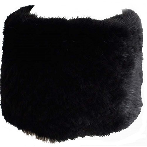 Mink Fur Headband Scarf - Valpeak Womens Winter Scarves or Headbands Knitted Mink Fur Hat Strong Elasticity (Black)