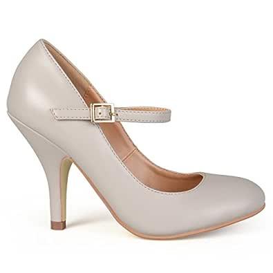 Brinley Co Women's Nelzen 2 Dress Pump, Grey Smooth, 7 M US