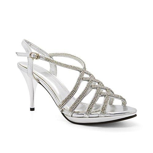 London Footwear - Zapatos con correa de tobillo mujer Plateado - plata