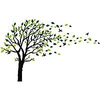 Árbol grande que sopla en el viento Árbol Tatuajes de pared Etiqueta de la pared Arte de vinilo Habitaciones para niños Chicas adolescentes Niños Papel tapiz Murales Pegatinas de pared Decoración de vivero Calcomanías de guardería (Negro y verde,