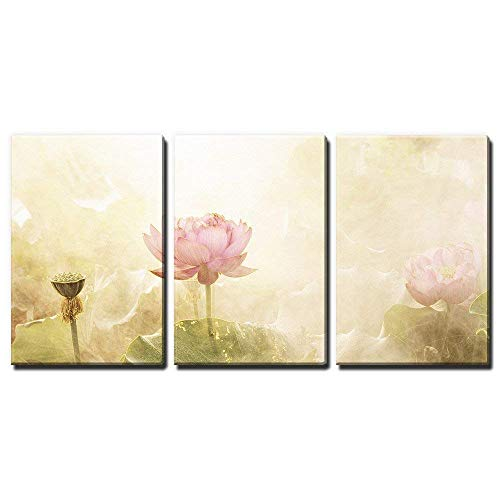 - wall26 - 3 Panel Canvas Wall Art - Watercolor Style Lotus Flowers and Leaves - Giclee Print Gallery Wrap Modern Home Decor Ready to Hang - 24