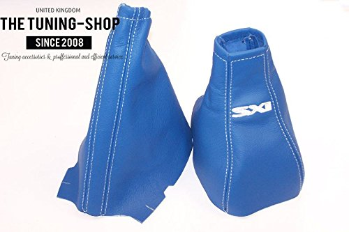 Gear & Handbrake Gaiter Blue Leather 'SXI' Embroidery The Tuning-Shop Ltd