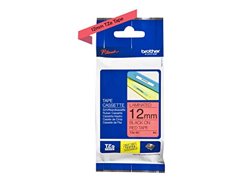 (Brother TZe-431 Labelling Tape Cassette, Black on Red, 12 mm (W) x 8 m (L), Laminated, Brother Genuine Supplies )