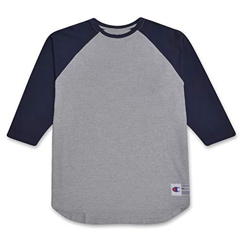 (Champion Mens Big and Tall Raglan Baseball T Shirt Heather Grey/Navy 3X)