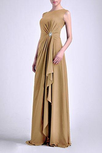 maniche Chiffon lunghe golden madre perline Natrual senza Guaina con abiti Bateau cinghie Adorona g7Y40dqg