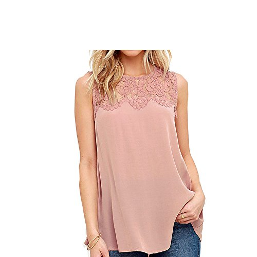 Special Beauty Nice Women Blouses Plus Size 3XL Casual New Summer Solid Chiffon Lace Sleeveless Shirt Blouse Tank Tops Pink L