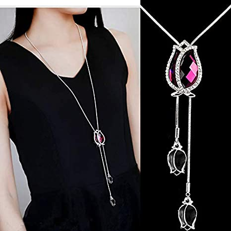 TraveT Crystal Rhinestone Tulip Pendant Necklace for Women Flower Charm Long Sweater Chain Necklace Female Jewelry Gift,Purple red