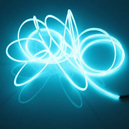 Lerway Strip Light Rope Neon Flexible EL Wire Cable DIY Multicolor Cosplay Party Decoration (Light Blue, 16 feet)