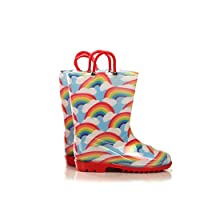 Silky Toes Girls Boys Printed Rain Boots for Kids, Waterproof Toddler Little/Big Kids Classic Wellies