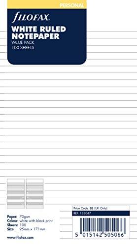Notepaper White Personal (Filofax Ruled White (100 Pack) (B133047))
