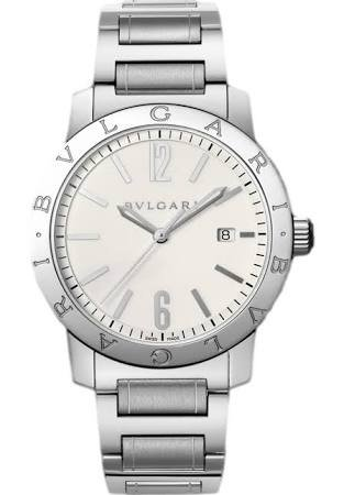 Bvlgari Bvlgari Automatic Silver Dial Black Leather Mens Watch (Bvlgari Silver Watch)