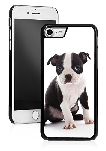 For Apple iPhone Hard Back Case Cover Boston Terrier Puppy (Black For iPhone 7)