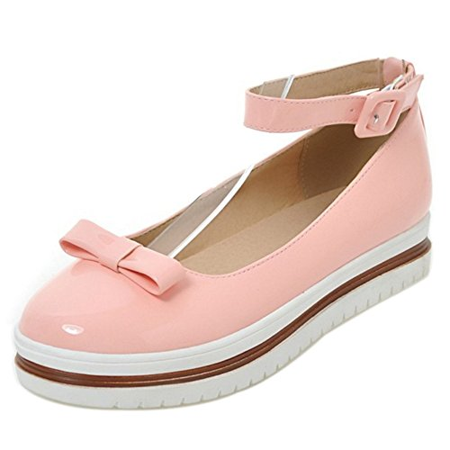 COOLCEPT Girls Sweet Ankle Strap Pumps Flatform Shoes With Bow Pink JR5TaRUk