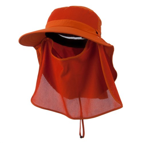 UV 50+ Talson Large Bill Flap Hat with Detachable Inner Flap - Orange OSFM