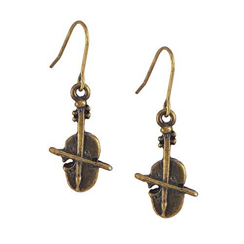 Spinningdaisy Antique Bronze Musical Instrument Earrings Cello ()