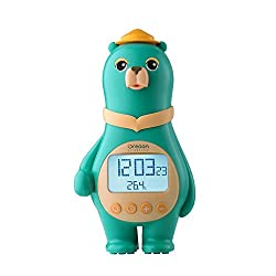Oregon Scientific Big Bear Alarm Clock with Digital Temperature Time Date for Children and Kids Home Bedroom, Tap Control, Easy Setting, AC/Battery Powered. (BC100) (Green)