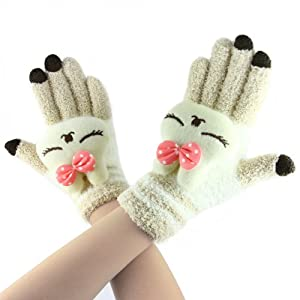 Cute Animal Magic Touch Screen Gloves, Women Kids Girls Boys Winter Warm Cozy Wool Knit Gloves Outdoor Cycling Thermal Windproof iPhone Touchscreen Texting Gloves Hand Warmer Mittens Christmas Gift
