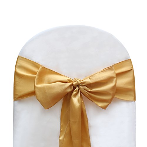 Universal Decor Suppliers Gold Color Satin Bow for Wedding and Events Supplies Party Decoration Chair Cover Sashes 20 ()